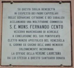 Epigrafe in ricordo del dono al santuario di Loreto