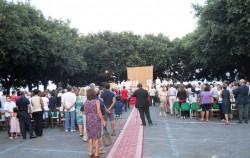 Piazza Cappuccini affollata durante la Messa