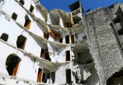 La città di Aleppo distrutta dai bombardamenti