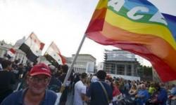 Bandiere della pace sventolano insieme con bandiere siriane in piazza S. Pietro