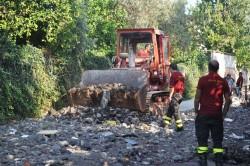La rimozione dei detriti dell'alluvione del 21 settembre