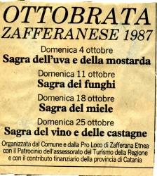 Programma della prima edizione dell'Ottobrata Zafferanese, 1987