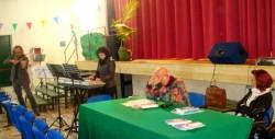 Un momento della presentazione. Da sinistra: il violinista Di Guardo, la pianista Greco, il prof. Collura e la preside Di Vincenzo