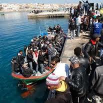 Sbarco di immigrati sull'isola di Lampedusa