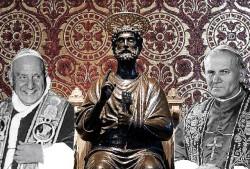 La statua bronzea di S. Pietro affiancata dalle immagini di Giovanni XXIII e Giovanni Paolo II