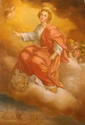 L'immagine di santa Venera che campeggia nell'ufficio del Sindaco