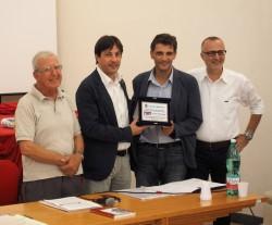 Da sinistra: Nicola Musumarra, Fabio Cantarella (vicesindaco Mascalucia), Anthony Barbagallo (sindaco di Pedara) e Alfio D'Urso (pres.conc.comunale Mascalucia)