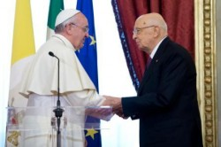 Il presidente Napolitano con Papa Francesco