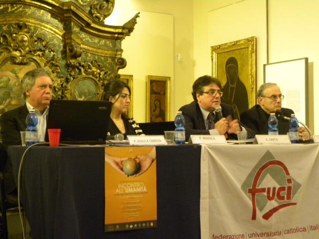 Catania. Museo diocesano. Tavola rotonda. Da sinistra: Nando Dalla Chiesa, Flavia Modica, Claudio Saita, mons. Domenico Mogavero