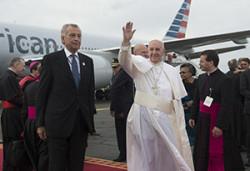 Papa Francesco all'aeroporto di Filadelfia