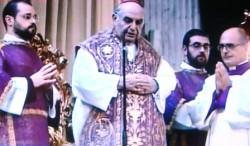 Il card. Paolo Romeo durante il rito funebre