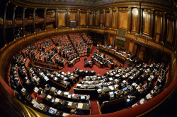 (FILES) - A file picture shows a genral view of the Italian Senate in Rome on April 22, 2015. Italy's Senate voted on October 13, 2015 in favour of relinquishing most of its power in a revolutionary move aimed at ending decades of political instability in a victory for Prime Minister Matteo Renzi. Senators voted 179 in favour and 16 against the reform, which will go to a general referendum next year and will drastically reduce the chamber's powers and end its ability to bring down the government. AFP PHOTO / ANDREAS SOLARO