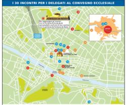 La mappa di Firenze con i 30 luoghi visitati dai convegnisti