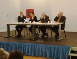 L'incontro su Rino Nicolosi. Da sin. Giovanni Burtone, Carola Colonna, Salvo Andò, Alfonso Sciacca