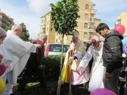 Mons. Urso pone a dimora una pianta d'arancio in via Ludovico Ariosto