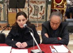 Maria Pia Risa con il direttore Giuseppe Vecchio alla presentazione di Biancavilla