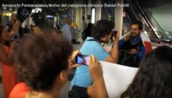 L'arrivo di Daniel Pontili all'aeroporto di Fontanarossa