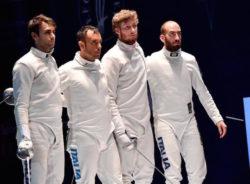 La squadra di spada maschile che ha conquistato la medaglia d'argento alle Olimpiadi di Rio de Janeiro