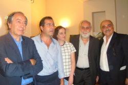I protagonisti della serata. Da sinistra: Peppino Vecchio, Mario Di Prima, Maria Pia Risa, Nino De Maria e Santo Pennisi