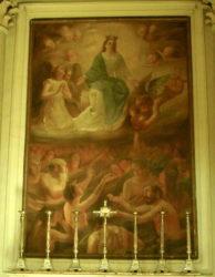 """Il quadro """"La Madonna e le anime del Purgatorio"""" dell'acese Francesco Patanè che si trova nella basilica di San Sebastiano ad Acireale"""