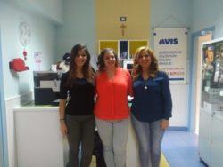 Da sx: Anna Ferlito, Elisa Astuto, vice presidente dell'Avis ed Eleonora Ramacca