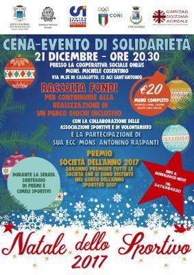 """Tempo di Natale – 13 / Sport e solidarietà: stasera cena del Csi di Acireale per realizzare un """"Parco inclusivo"""" nel territorio"""