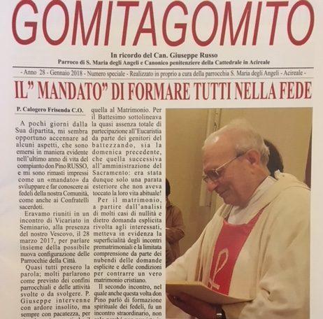 """Ricordo / """"Gomitagomito""""dedicato da parrocchiani e amici a don Giuseppe Russo, uomo """"carico di ardore e pacatezza"""""""