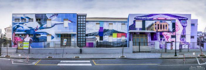 """Valverde / Ultimati i murales sull'Istituto Comprensivo. Il vice sindaco Torrisi: """"Un museo a cielo aperto per educare i bambini all'arte contemporanea"""""""