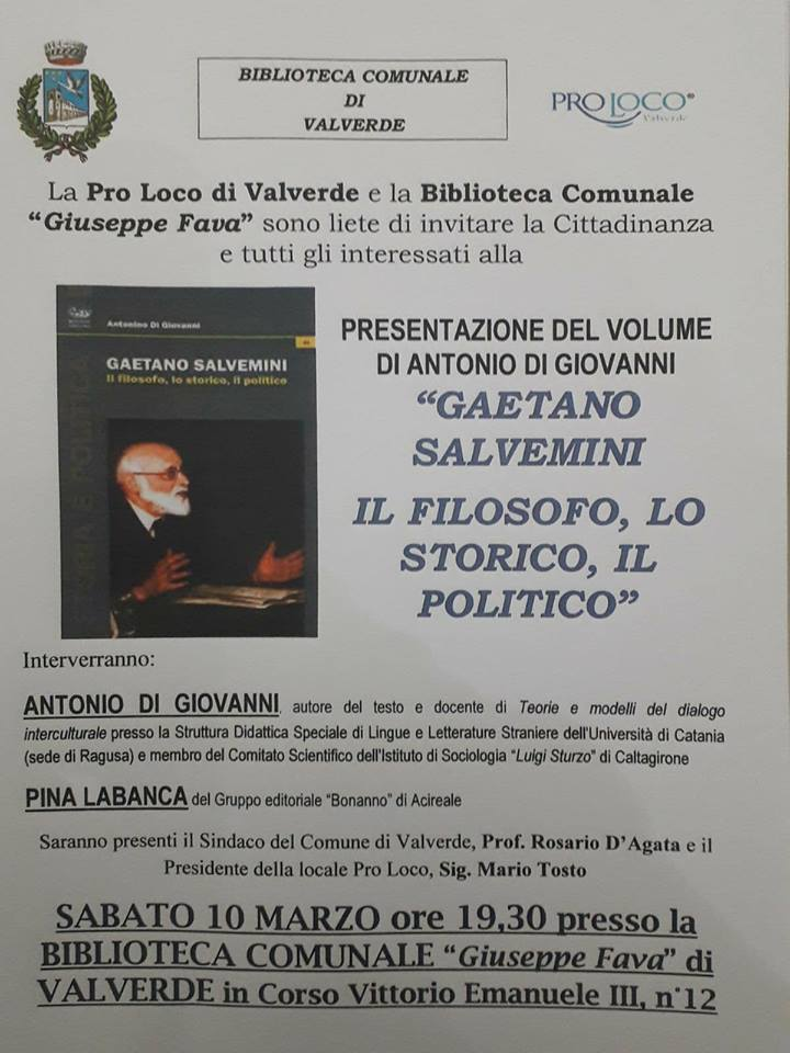 """Valverde / Domani alla Pro Loco presentazione del libro """"Gaetano Salvemini. Il filosofo, lo storico, il politico"""" di Antonio Di Giovanni"""