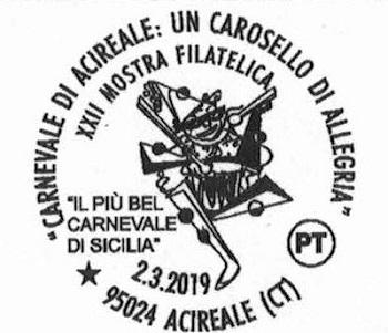 Carnevale di Acireale – 5 / Annullo postale oggi, sabato 2, dalle 14 alle 20