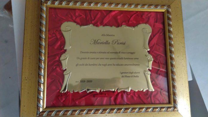 targa per Mariella Parisi