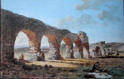 Ponte acquedotto Biscari acquerello Houel